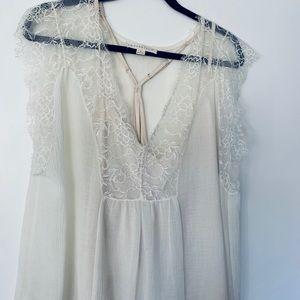 Love stitch cream colored lace Tank w/ cami slip